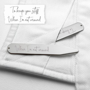 Personalised Handwriting Collar Stiffeners - Silver