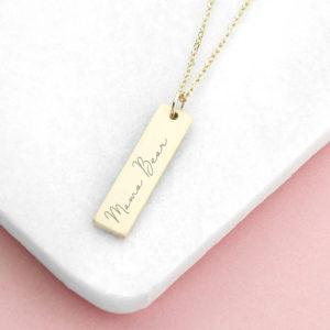 Personalised Handwriting Bar Necklace