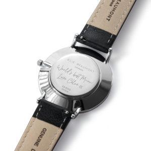Personalised Handwriting Ladies Black Leather Watch