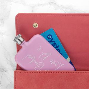 Personalised Handwriting Pink Slimline Flask