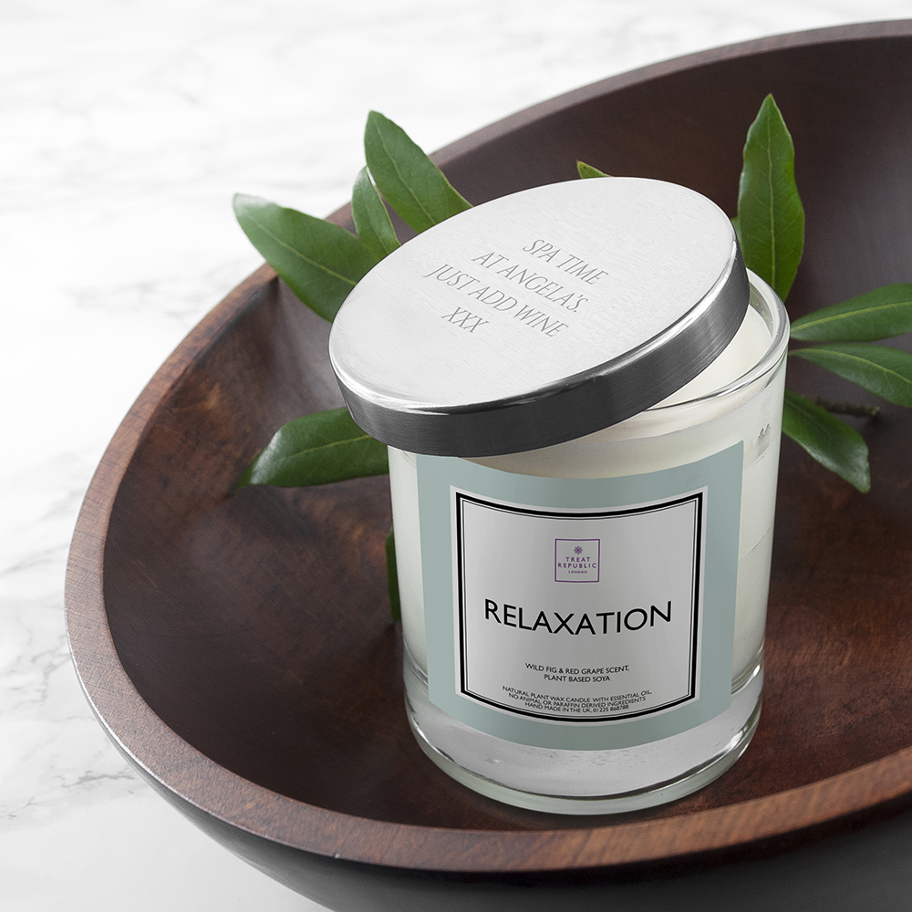 Personalised Relaxation Soy Candle with Silver Lid