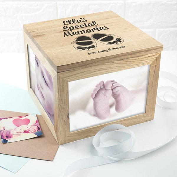 Baby Shoes Oak Photo Keepsake Box