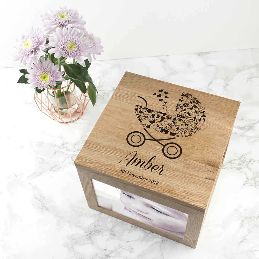 Personalised Baby Girl Photo Memory Box