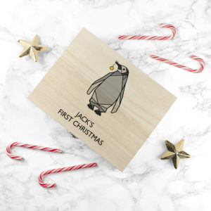 Personalised Baby Penguin First Christmas Box