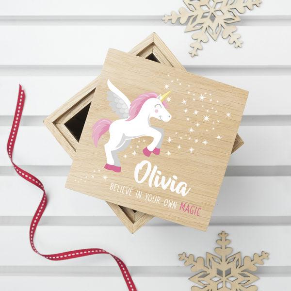 Personalised Baby Unicorn Photo Cube