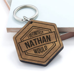 Personalised Cheeky Message Engraved Keyring