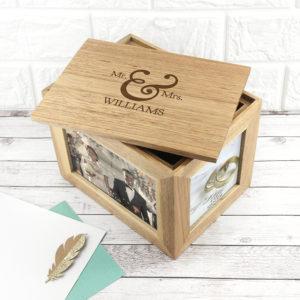 Personalised Classic Mr & Mrs Midi Oak Photo Cube Keepsake Box