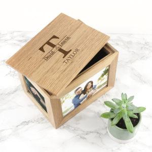 Personalised Couple Monogram Midi Oak Photo Cube Keepsake Box