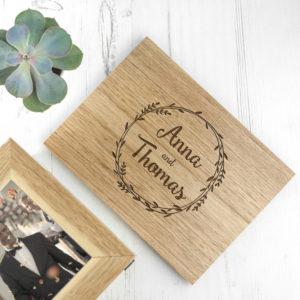 Personalised Couples' Midi Oak Photo Cube Keepsake Box With Wreath Design