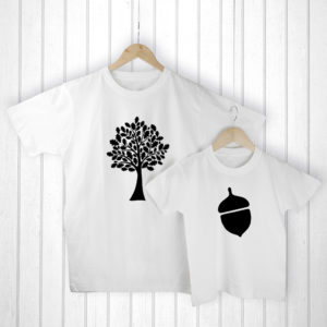 Personalised Daddy and Me Acorn White T-Shirts