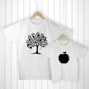 Personalised Daddy and Me Apple White T-Shirts