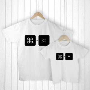 Personalised Daddy and Me Command+V White T-Shirts