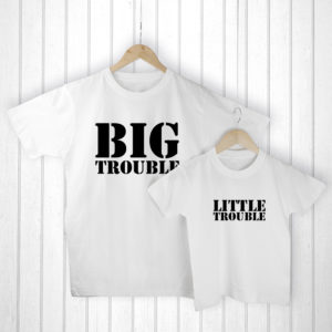 Personalised Daddy and Me Here Comes Trouble White T-Shirts