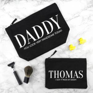 Personalised Daddy & Me Black Wash Bags