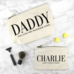 Personalised Daddy & Me Cream Wash Bags