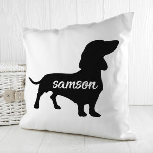 Personalised Daschund Silhouette Cushion Cover