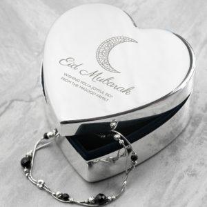 Personalised Eid Mubarak Heart Trinket Box