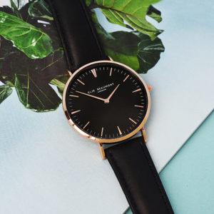Modern - Vintage Personalised Leather Watch in Black