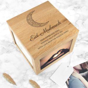 Personalised Engraved Eid Mubarak Photo Cube