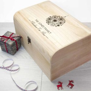 Personalised Family Christmas Eve Chest With Decorative Bauble Design
