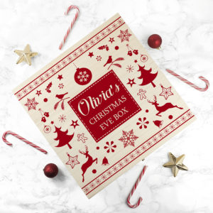 Personalised Festive Scandi Print Christmas Eve Box