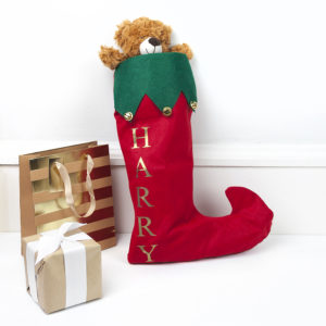 Personalised Festive Stocking with Jingle Bells