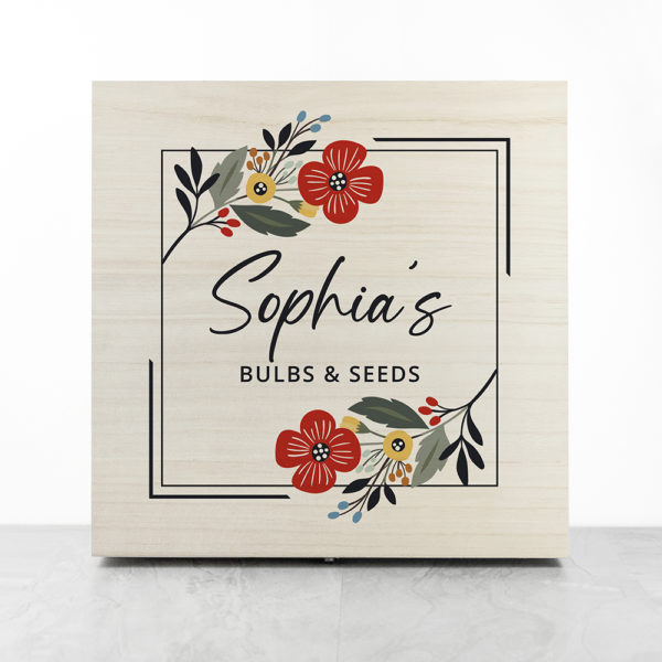 Personalised Floral Frame Garden Accessories Box