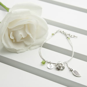 Personalised Forget Me Not Friendship Bracelet With Peridot Stones