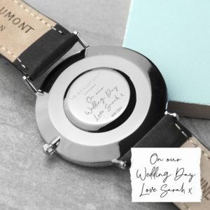 Personalised Handwriting Mens Black Leather Watch