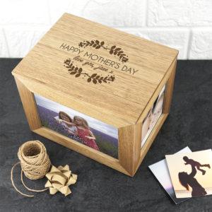 Personalised Happy Mother's Day Midi Oak Photo Cube Keepsake Box