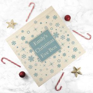 Personalised Ice Blue Snowflake Christmas Eve Box