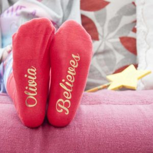 Personalised Kids Crimson & Gold Christmas Day Socks