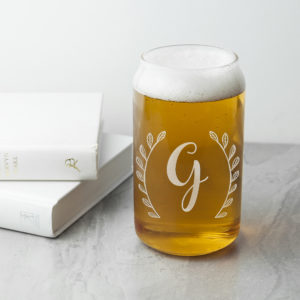 Personalised Leaf Framed Can Glass