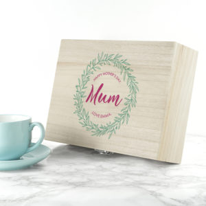 Personalised Leaf Wreath Mother's Day Tea Box