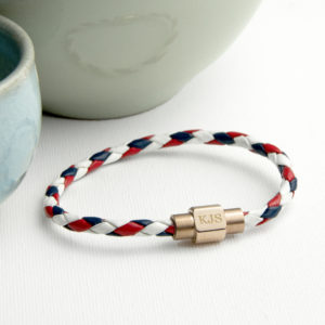 Personalised Men's Nautical Leather Bracelet With Gold Clasp