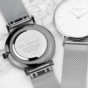 Personalised Men's Silver Eid Mubarak Watch