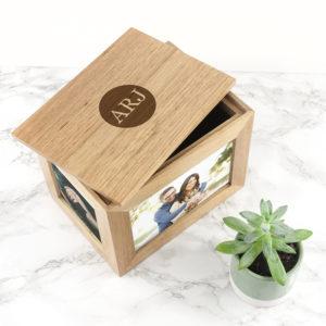 Personalised Midi Oak Photo Cube Keepsake Box With Initials
