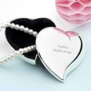 Personalised Miniature Heart Trinket Box