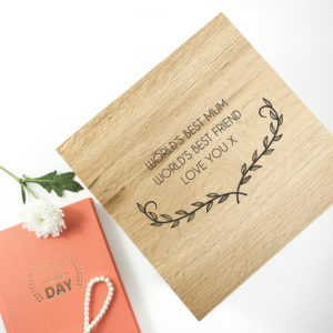 Personalised Mother's Love Large Oak Photo Cube