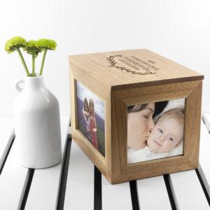 Personalised Mother's Love Midi Oak Photo Cube Keepsake Box