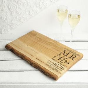 Personalised Mr & Mrs Romantic Rustic Welsh Ash Serving Board