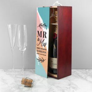Personalised Mr & Mrs Wine Box