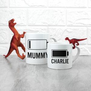 Personalised Mummy & Me Low Battery Mugs