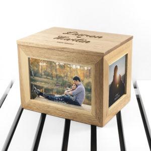 Personalised Name and Heart Midi Oak Photo Cube Keepsake Box