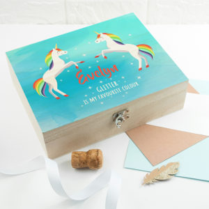 Personalised Rainbow Unicorn Accessories Box