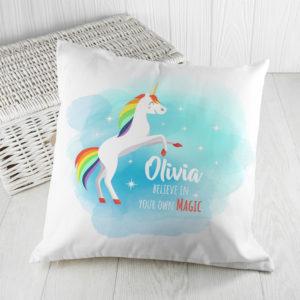 Personalised Rainbow Unicorn Cushion Cover