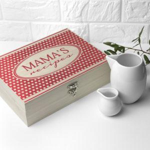 Personalised Retro Polka Dot Recipe Box