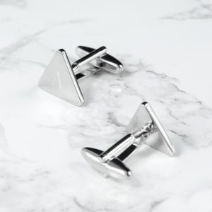 Personalised Rhodium Plated Triangle Cufflinks