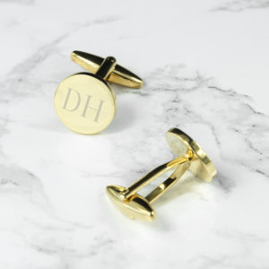 Personalised Round Gold Plated Cufflinks