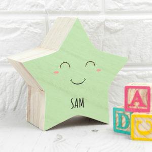 Personalised Smiling Star Pastel Trinket Box